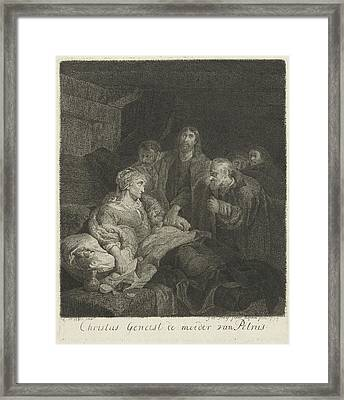 Christ Heals The Mother Of Peter, Johannes Pieter De Frey Framed Print by Johannes Pieter De Frey