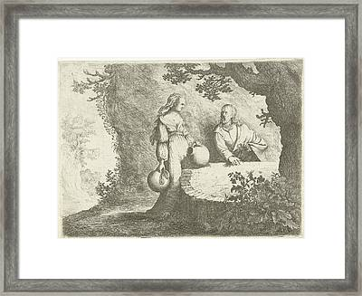 Christ In Conversation With The Samaritan Woman Framed Print by Willem Basse