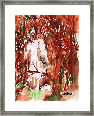 Christ In The Forest Framed Print
