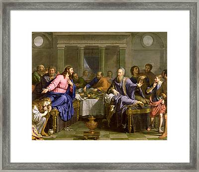 Christ In The House Of Simon The Pharisee Framed Print by Philippe de Champaigne