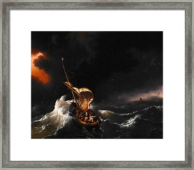 Christ In The Storm On The Sea Of Galilee Framed Print by Ludolf Bakhuizen