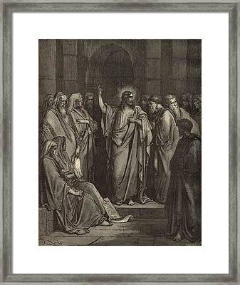 Christ In The Synagogue Framed Print by Antique Engravings