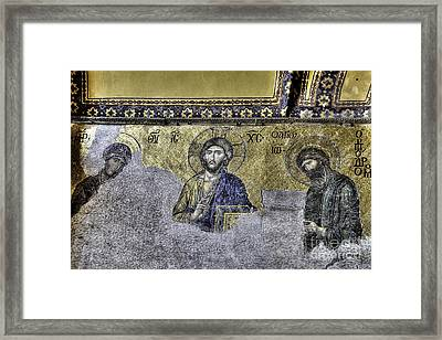 Christ Mosaic Framed Print by Emily Kay