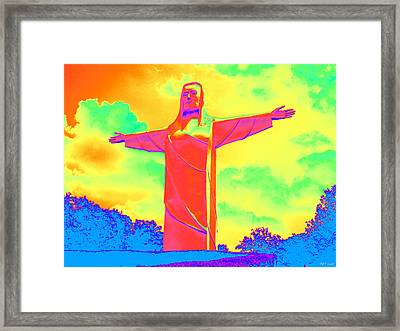Christ Of The Ozarks In Primary Colors Framed Print