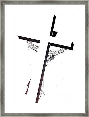 Christ On Cross Framed Print by Justin Moore