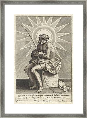 Christ On The Cold Stone, Hieronymus Wierix Framed Print