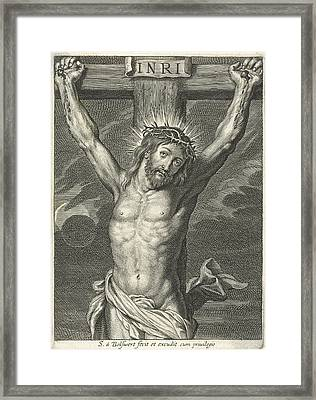 Christ On The Cross And Eclipse Framed Print by Schelte Adamsz. Bolswert And Peter Paul Rubens