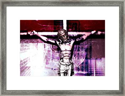 Christ On The Cross Framed Print by Tommytechno Sweden