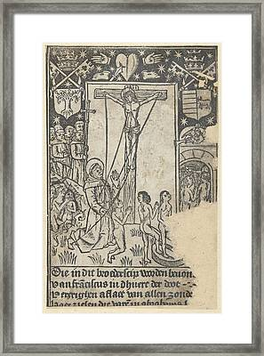 Christ On The Cross With St Framed Print by Anonymous
