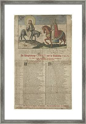 Christ On The Donkey, The Pope On A Horse Framed Print by Anonymous And Jan Van Der Heyden Ii