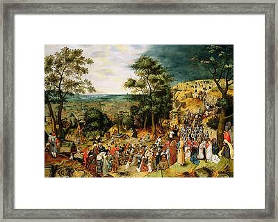 Christ On The Road To Calvary, 1607 Panel Framed Print by Pieter the Younger Brueghel
