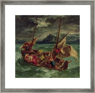 Christ On The Sea Of Galilee Framed Print by Delacroix