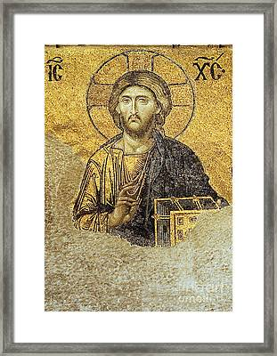 Christ Pantocrator-detail Of Deesis Mosaic Hagia Sophia-judgement Day Framed Print