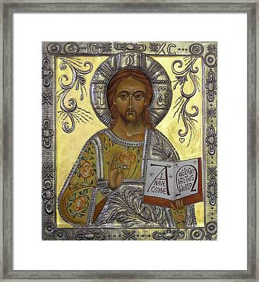 Christ Pantocrator Framed Print by Mary jane Miller