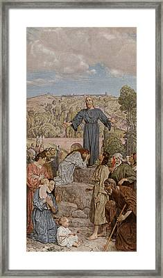 Christ Preaching Framed Print by Hans Thoma