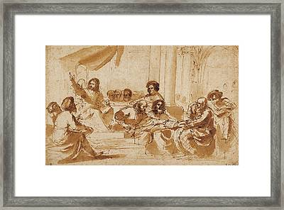 Christ Preaching In The Temple Guercino Giovanni Francesco Framed Print by Litz Collection