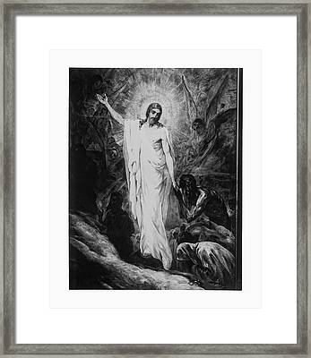 Christ Preaching To The Spirits In Prison C. 1910 Framed Print by Daniel Hagerman