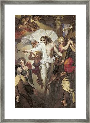 Christ Resurrected Between St Teresa Of Avila Framed Print