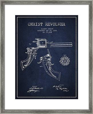 Christ Revolver Patent Drawing From 1866 - Navy Blue Framed Print