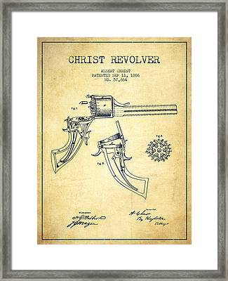 Christ Revolver Patent Drawing From 1866 - Vintage Framed Print by Aged Pixel