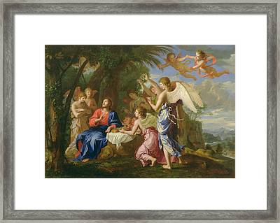 Framed Print featuring the painting Christ Served By The Angels - Jacques Stella - 1656 by Jacques Stella