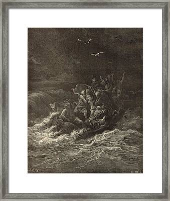 Christ Stilling The Tempest Framed Print by Antique Engravings