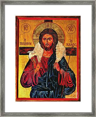 Christ The Good Shepherd Icon Framed Print by Ryszard Sleczka