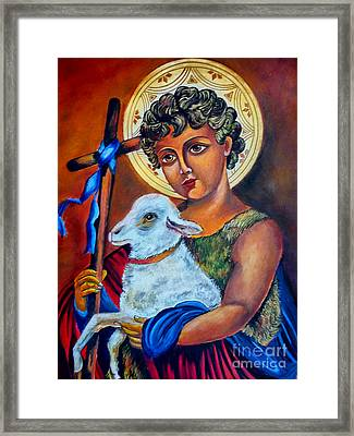 Christ The Good Shepherd  Framed Print by Ryszard Sleczka