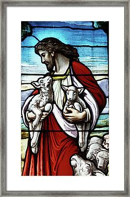 Christ The Good Shepherd With His Flock Framed Print