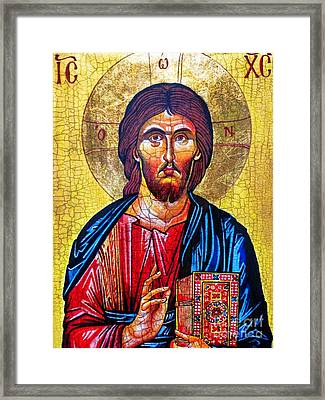 Christ The Pantocrator Icon Framed Print by Ryszard Sleczka