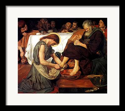 Christ Washing Peters Feet Framed Prints