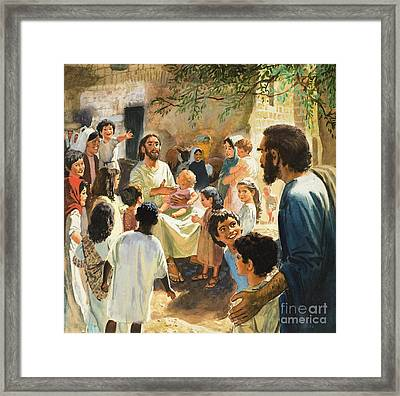 Christ With Children Framed Print by Peter Seabright