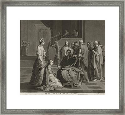 Christ With Martha And Mary, Charles Howard Hodges Framed Print