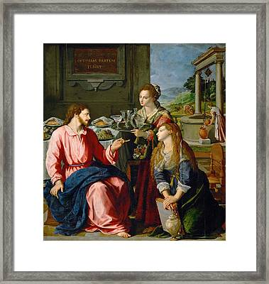 Christ With Mary And Martha Framed Print by Alessandro Allori