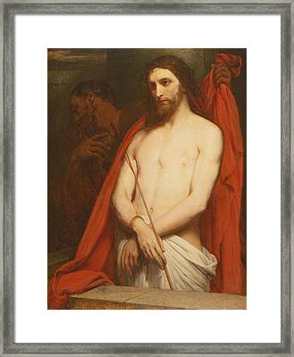 Christ With The Reed Oil On Canvas Framed Print by Ary Scheffer