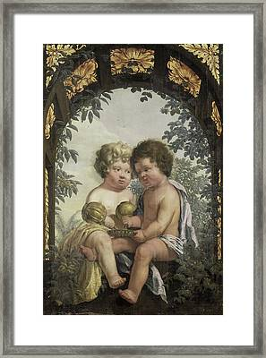 Christian Allegory With Two Children Both Pouring Framed Print