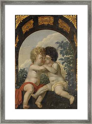 Christian Allegory With Two Children Hugging Each Other Framed Print