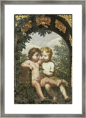 Christian Allegory With Two Children With A Bible And Snake Framed Print