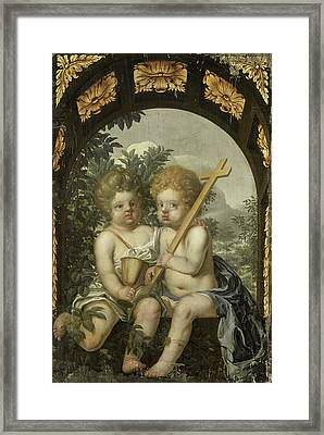 Christian Allegory With Two Children With Cross And Chalice Framed Print