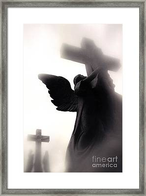 Angel With Jesus On Cross - Christian Art Cross - Spiritual Angel On Cross  Framed Print by Kathy Fornal