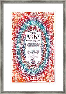 Christian Art- Modern Art Cover Of 1611 King James Bible Framed Print by Mark Lawrence
