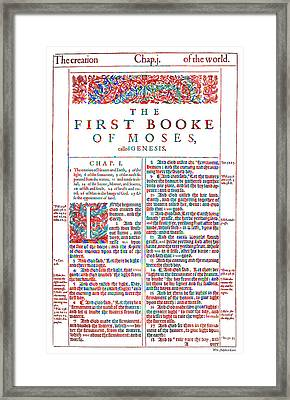 Christian Art- Modern Art Genesis Cover Page From King James Bible Of 1611  Framed Print by Mark Lawrence