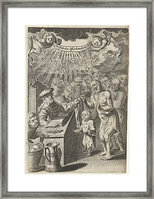 Christian Assistance To The Poor, Print Maker Pieter Nolpe Framed Print by Pieter Nolpe
