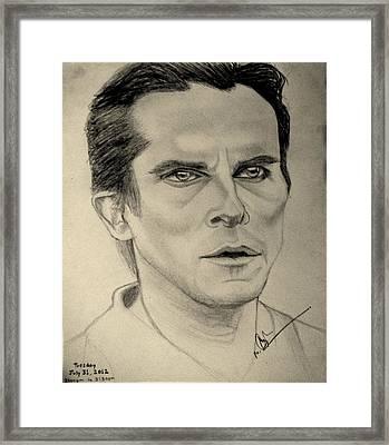 Christian Bale From The Dark Knight Rises Framed Print by Azhar Khan