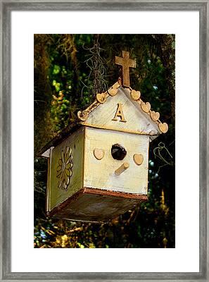 Christian Birdhouse Framed Print by David  Brown