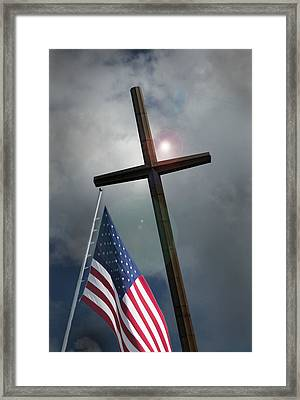 Christian Cross And Us Flag Framed Print