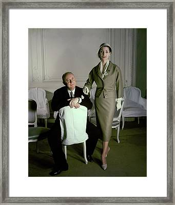 Christian Dior With Model Renee Framed Print
