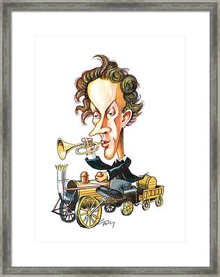 Christian Doppler, Caricature Framed Print by Science Photo Library