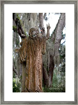 Christian Statue With Finger Pointing Toward Heaven Framed Print