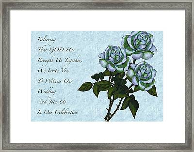 Christian Wedding Invitation With Roses Framed Print by Joyce Geleynse